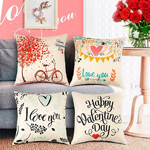 WATSABRO Happy Valentines Day Pillow Covers, 4 Piece Linen Fiber Love Tree Bike Pillow Case, Suitable for Home Decor/Valentines Day Decoration/Christmas Decoration?18 X 18 Inch/45 X 45 cm?