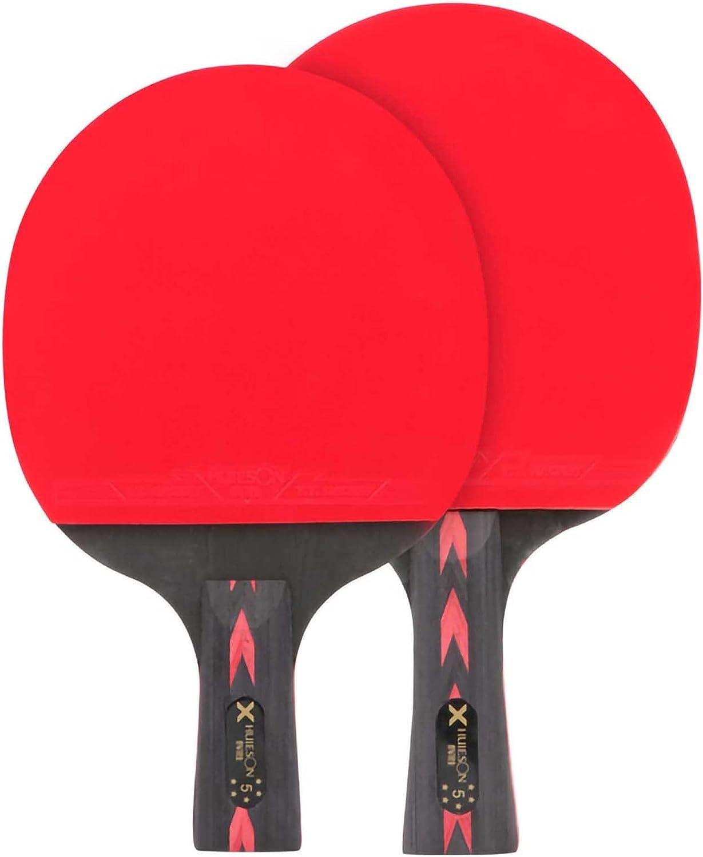 HXFENA Bate de Tenis de Mesa,Raqueta de Tenis de Mesa de Entrenamiento Profesional,Estructura de Rey de Carbono Rojo Negro con Excelente Velocidad de Giro Y Control / 5 Star/C