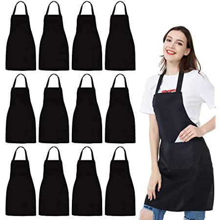 Details about  /2-Pack Kitchen Apron-Waterproof and Oil-Proof Men//Women Pockets Black and White