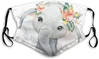 Fillter Face Cloth For Women Boho Elephant Reusable Waterproof Mouth Anti Dust Ear Loops For Running Double Protection