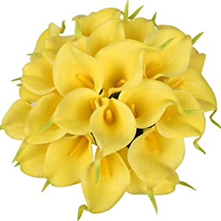 Luyue Calla Lily Bridal Wedding Bouquet Head Lataex Real Touch Flower Bouquets Pack of 20 (Yellow)