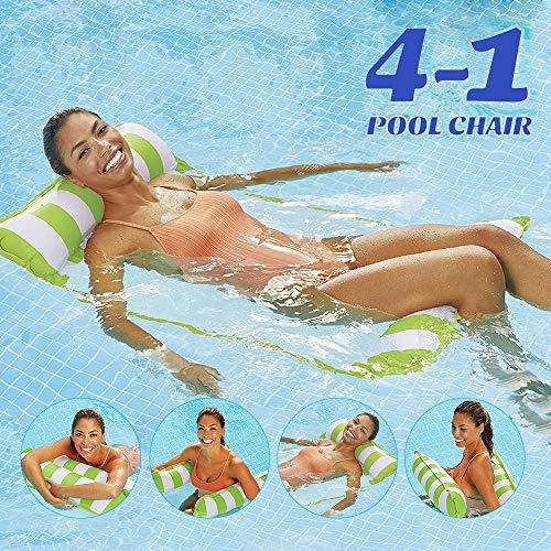 Cama flotante, Hamaca de agua, hinchable, tumbona de salón cómoda portátil, flotador para piscina, playa, para adultos y niños (verde)