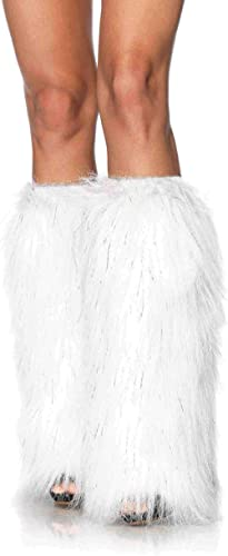 Leg Avenue Faux Fur Lorax Legwarmers for Women, White/Silver, One Size