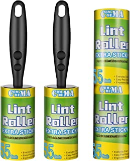 Commema Lint Rollers for Pet Hair Extra Sticky, Pet Hair Remover, Lint Remover, 2 Handles with 4 Refills, 220 Total Sheets, Lint Roller Set Brush for Dog & Cat Hair Removal, Clothes, Furniture
