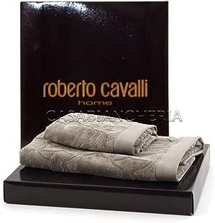 Roberto Cavalli Coppia Asciugamani in Spugna di Puro Cotone di qualita Extra
