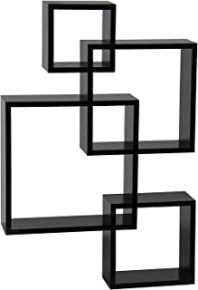 NewMultis Decorative Wall Mounted Shelf 4 Cube Intersecting Floating Square Shelves Home Decor Furniture Black