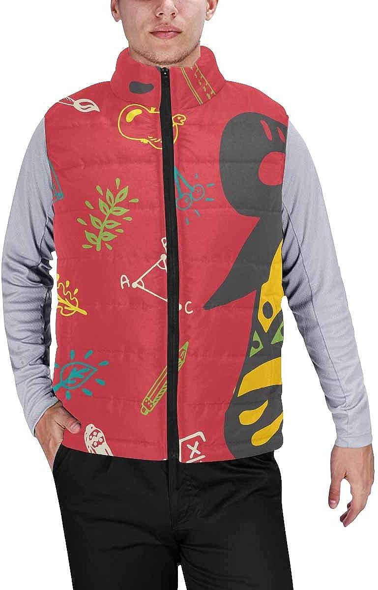 InterestPrint Men's Full-Zip Soft Warm Winter Outwear Vest Panda Sitting Among Bamboo Stem