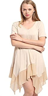 فستان تونك كاجوال بأكمام قصيرة ورقبة على شكل حرف V غير متماثلة للنساء من Salimdy