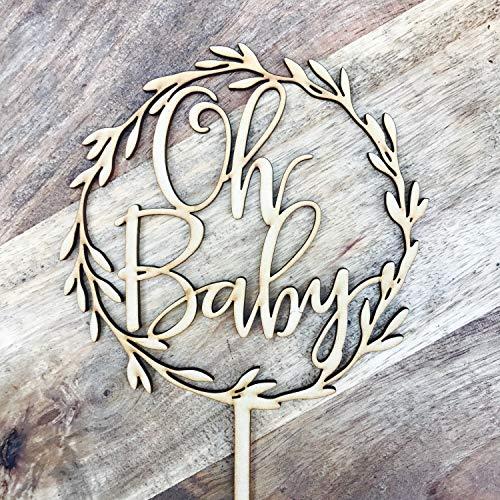 Laden Sie SVG Datei Schneidefeile Oh Baby Kranz Kuchenaufsatz Boho-Babyparty Kuchenaufsatz Kranz Tortenaufsatz