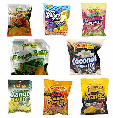 Philippine Brand Dried Fruit Balls, 8 Bags including Mango, Coconut, Guava, Pineapple