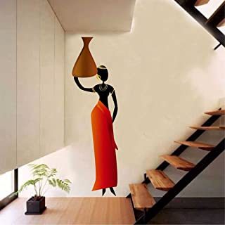 Rawpockets Decal ' African Tribal Women' Multi-Color Large Size Wall Sticker,Height -100Cm X Width -30Cm
