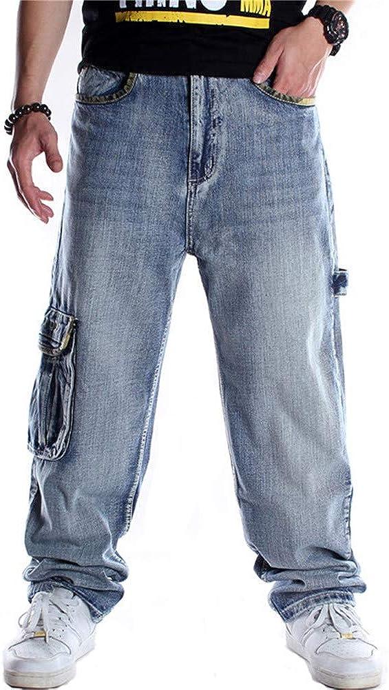 LUOBANIU Men's Vintage Deluxe Hip Hop Style Baggy Loose Sales Jeans Fit Dance