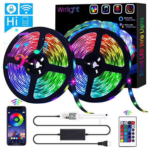 LED Strip Lights, Wrrlight WiFi 32.8ft/10M 300LEDs Color Changing Rope Lights 5050 RGB Light Strips with Alexa Google APP Controller, Waterproof Tape Lights Sync with Music Apply for Home Kitchen…