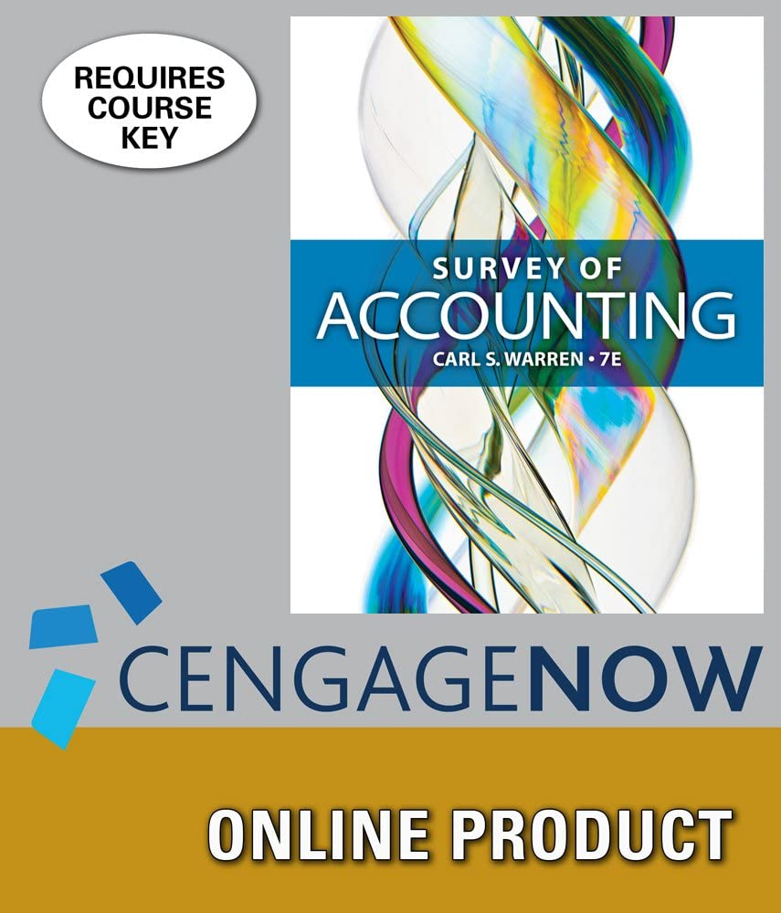 CengageNOW for Warren's Survey Edition Spasm price of Accounting 7th Brand new