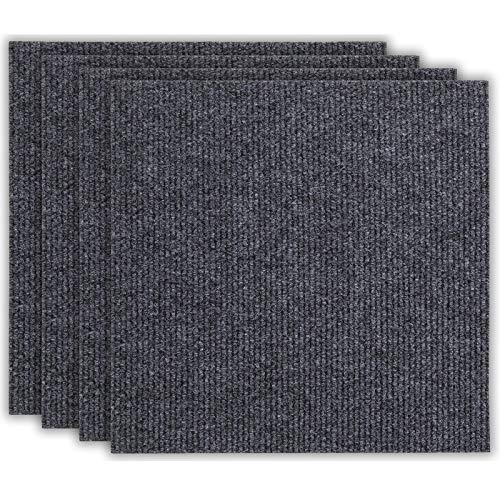 andiamo Teppichfliesen selbstklebend Teppichboden Bodenbelag Fliese à 50x50cm, Farbe:Anthrazit, Größe:4 m²