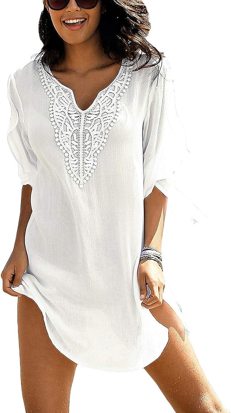 Eddoyee Summer Casual Swimsuit Cover Ups for Women Beach Shirt Tunic Dress