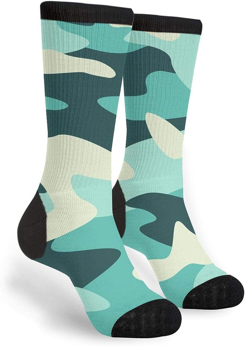 Camouflage Army Green Novelty Fun Crazy Crew Socks - Dress Casual Socks