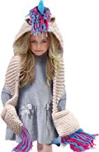 Tacobear Kids Crochet Unicorn Hat with Scarf Pocket Hooded Handmade Knitted Beanies, Unicorn Gifts for Girls