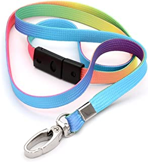 CKB Ltd 10x Breakaway Fade Multi-Color Ombré Striped Premium Safety Lanyard Neck Strap Swivel Metal Clip for ID Card Holder Bright Fun Funky Novelty Cool Safety Lanyards Mixed Multicolored