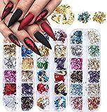 36 couleur Paillette à ongles en feuille, Kalolary Nail Foil Or Argent Cuivre Paillette pour ongles décoration de design art (3 boîtes / 36 grilles)