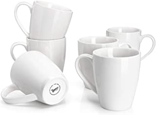Sweese 601.001 Porcelain Mugs - 16 Ounce for Coffee, Tea, Cocoa, Set of 6, White