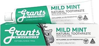 Grants Mild Mint with Aloe Vera Natural Sensitive Gentle Fluoride Free Toothpaste, Vegan, Safe for Kids 6+, Adults, Dental...