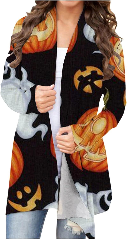 Halloween Sweatshirts for Women,Funny Cute Pumpkin Black Cat Graphic Tops Long Sleeve Open Front Cardigan Lightweight Coat