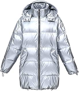 Cloth-yd Women's Hooded Down Coat Winter Thicken Down Jacket Warm Trend Street Parka with Removeable Hood