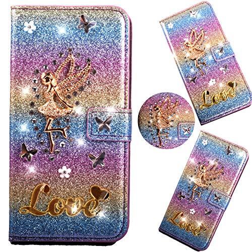 Stand Funktion Wallet für iPhone 6S iPhone 6,Diamond Sparkle Billig Glitter Glitzer Musterg Soft Retro Flip Leder Bookstyle Karteneinschub Magnet