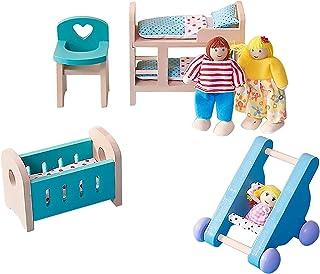 مجموعة تزيين مصغرة لبيت الدمى بمقياس 1/12، مجموعة غرفة أثاث الدمى الخشبية لبيت الدمى، دمى يتم تجميعها بنفسك مع سرير للكرسي