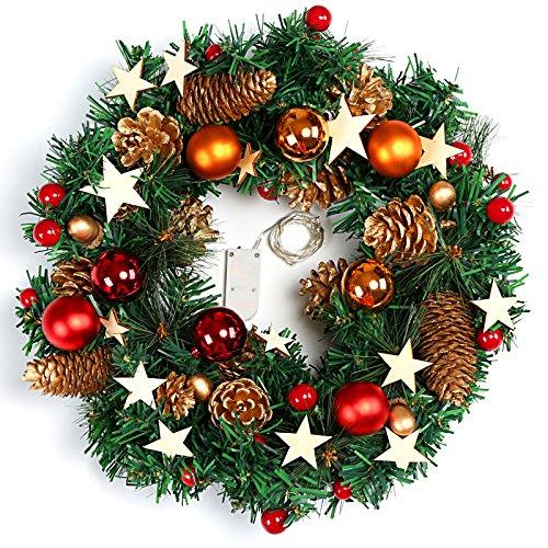 Naler, Ghirlanda di Natale per la Porta, Decorazione con Palline e pigne Luminose