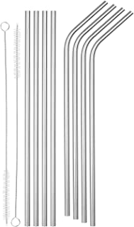 SipWell 6mm Bent/Straight Wide Stainless Steel Drinking Straws, 8-Pack - Eco Friendly Straws W/Brushes - Perfect for Smoothies & Cold Beverages