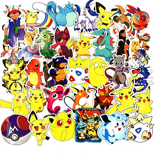 Juego 17 pegatinas 17 piezas pegatinas pokemon PVC graffiti pegatinas monopatín teléfono móvil tableta ordenador Pikachu pegatinas coche