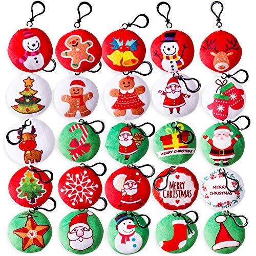 25pz Oggettistica Natalizi Portachiavi Gadget Natale Bambini Addobbi Decorazione Albero di Natale Regalini Compleanno