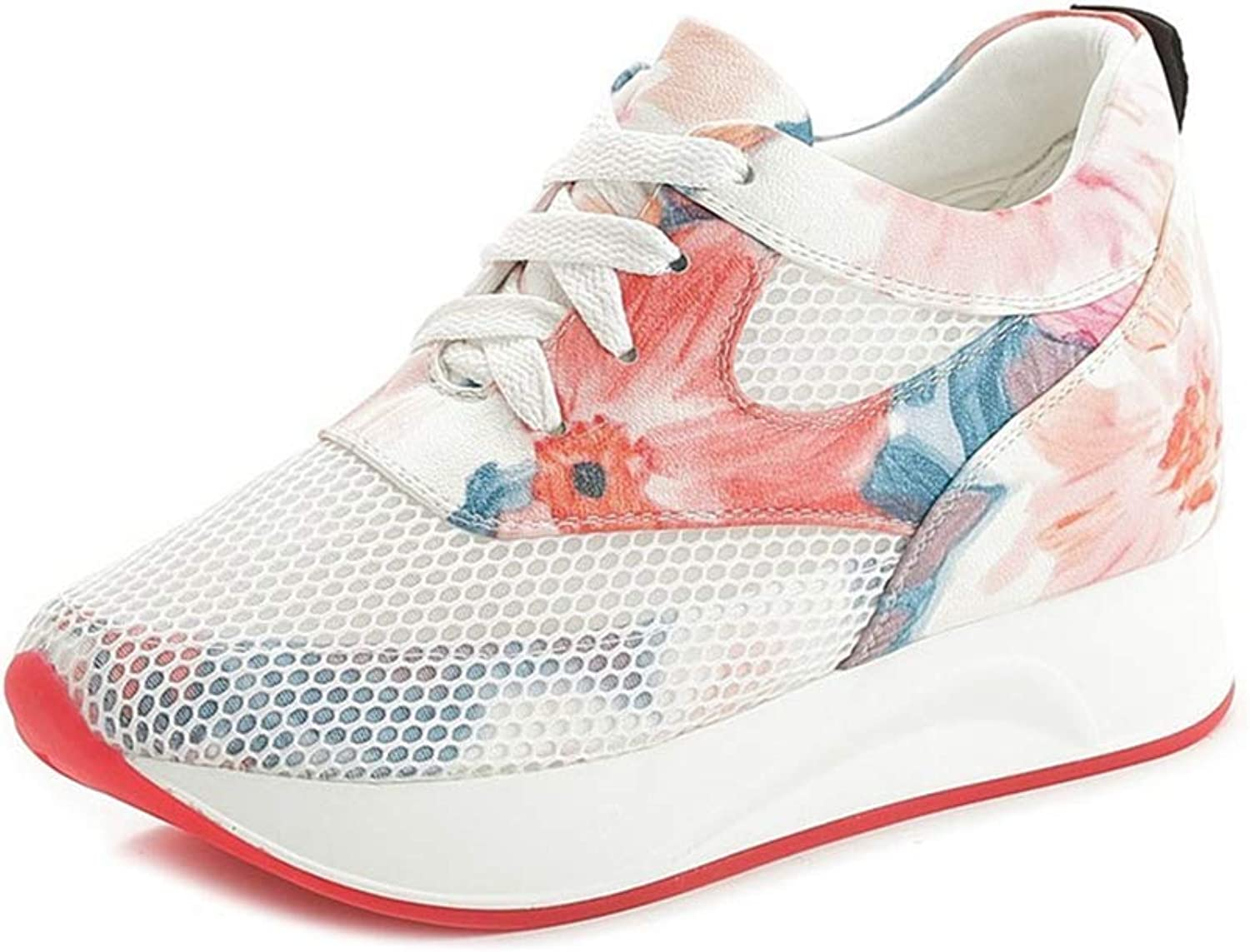 Beautiful - Fashion Womens Wedge Sneakers Casual Soft Outsole Height Increasing Camouflage Floral Lace Up Sports Athletic shoes
