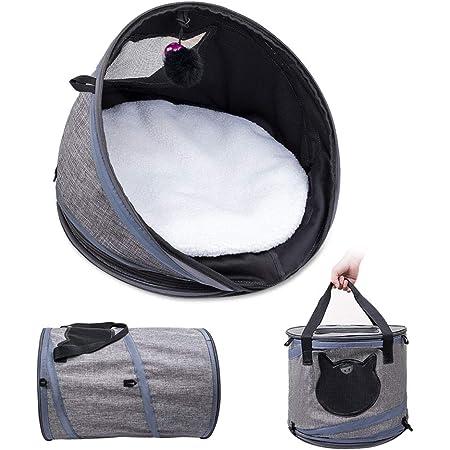 猫 小型犬 ペットキャリー 猫ベッド トンネル ハウス 3WAY 折り畳み可 携帯便利 通気性抜群 小動物用 旅行 通院 アウトドア お出かけバック (3IN1多機能猫ベッド)