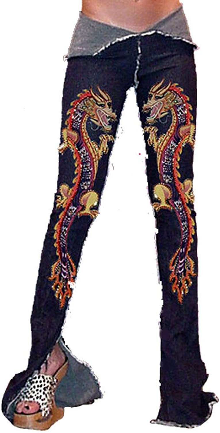 Funfash Skinny Stretchy Marigold Beaded Dragon Denim Pants Jeans Made in USA