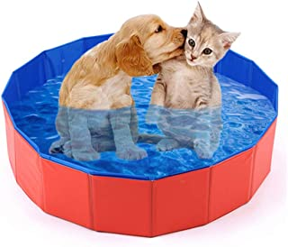 Mcgrady1xm Collapsible Pet Dog Bath Pool, Kiddie Pool Hard Plastic Foldable Bathing Tub PVC Outdoor Pools for Dogs Cat Kid