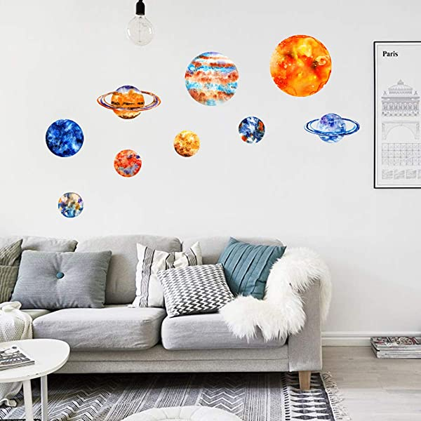 Glow In The Dark Stars And Planets Wall Stickers 9PCS Bright Solar System Glowing Wall Decors Ceiling Decals Home Decorations For Kids Baby Bedroom