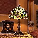 Gweat Tiffany de 12 pulgadas de la serie de la mariposa europea Pastoral Estilo Vidrieras lámpara Mesita de noche Ligero Ligero Reading