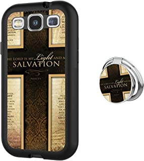 Samsung Galaxy S3 Case with Holder Ring Christian Quotes Cross Soft Black TPU Rubber and PC Anti-Slip Grip Cover Case, Shockproof Defend Protective Phone Case for Samsung Galaxy S3