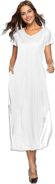 Amoin Women's Casual Loose Pocket Long Dress Short Sleeve Split Maxi Dresses
