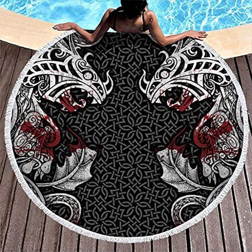 Tobgreatey Toalla de playa redonda con borlas, diseño vikingo, dragón, nudos sangre y multifuncional, para hombres, color blanco, 150 cm