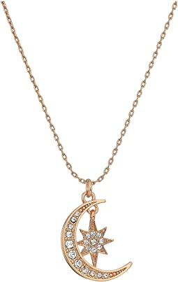 Pave Crescent and Star Pendant Necklace