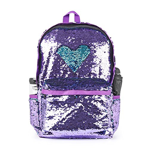 Sequin School Backpack for Girls Cute Sequence Bookbag for Kids Teenagers Glitter Purple Bags