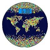 Escala digital de peso corporal de precisión Ronda Pasión de viajar Báscula de baño de vidrio templado ultra delgado Mediciones de peso precisas,World Map Organized Layers Mosaics Global Vibrant Color