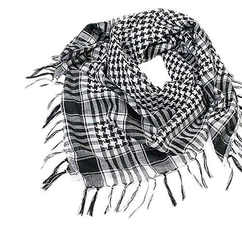 Deloito Unisex Mode Frau Männer Arabisch Keffiyeh Palästina Schal Schal Wrap Hahnentritt Groß Guadratischer Schal (Schwarz)