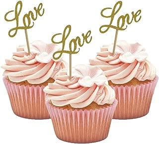 HOKPA LOVE Cupcake Toppers, Glitter Dessert Food Cake Picks for Baby Shower Wedding Engagement Bridal Birthday Party Supplies (20PCS Golden)