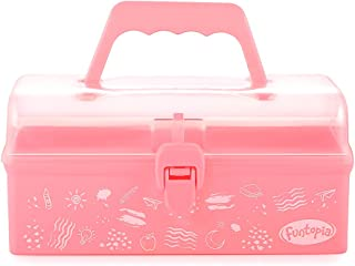Funtopia Plastic Art Box for Kids, Multi-Purpose Portable Storage Box/Sewing Box/Tool Box for Kids' Toys, Craft and Art Supply, School Supply, Office Supply - Pink