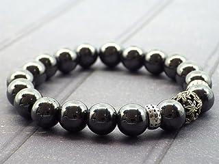 Braccialetto di perle ematite e perla centrale con cristalli